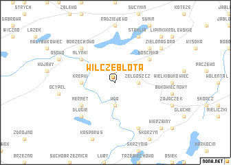 map of Wilcze Błota