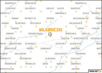 map of Wilkoniczki