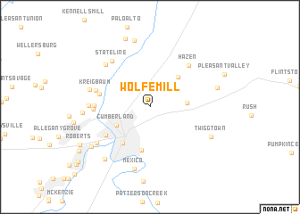 map of Wolfe Mill