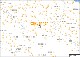 map of Zaklopača