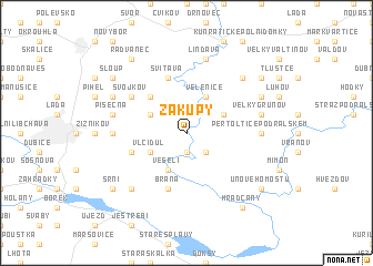 map of Zákupy