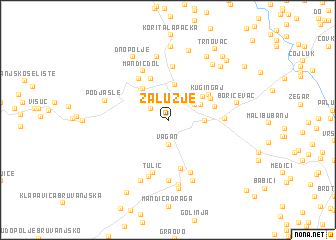 map of Zalužje