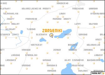 map of Żardeniki