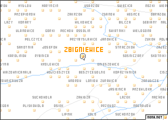 map of Zbigniewice
