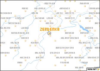 map of Żerdenka