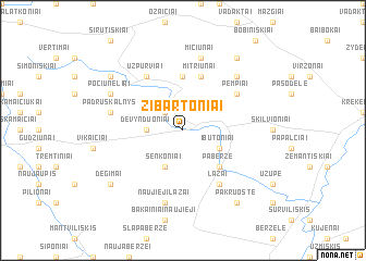 map of Žibartoniai