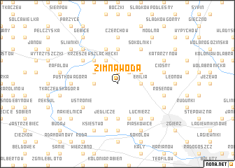 map of Zimna Woda