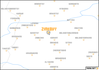 map of Zinkovy