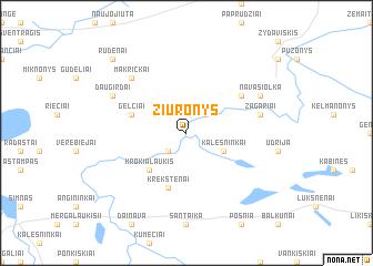 map of Žiūronys