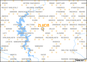 map of Zlučín