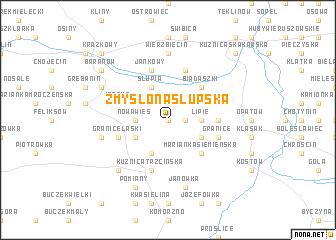 map of Zmyślona Słupska