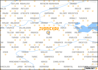 map of Zvoníčkov