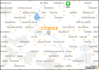 map of Żychcice