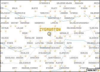 map of Zygmuntów