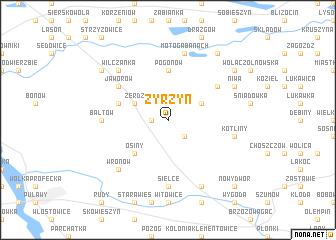 map of Żyrzyn