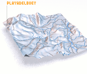 3d view of Playa del Buey