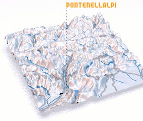 3d view of Ponte nell'Alpi