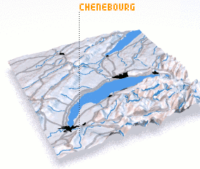 3d view of Chêne-Bourg