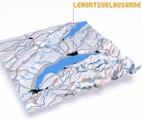 3d view of Le Mont-sur-Lausanne