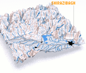 3d view of Shirazi Bāgh